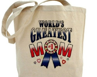 World's Greatest Mom - Cotton Canvas Tote Bag - Mother's Day