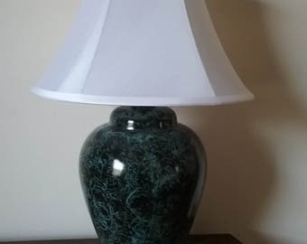 Large glass table lamp vinegar painted in black on teal