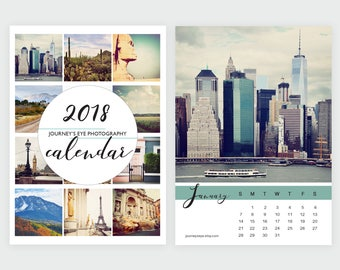 2018 calendar, desk calendar, photo calendar, 5x7 calendar, 4x6 calendar, travel, photo calendar, Journeys Eye, mini calendar, office decor