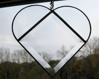 Stained glass heart hand made