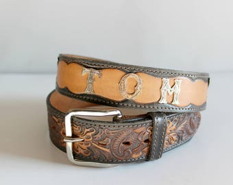 """Vintage 36"""" Tooled Leather Belt Personalized Tom by Chambers Made in the USA"""