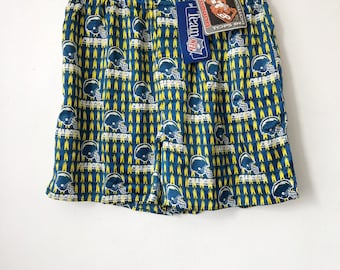 vintage san diego chargers bottom drawers silk boxers mens size large deadstock NWT 90s