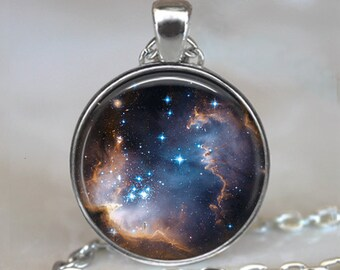 Star Cradle necklace, Celestial jewelry galaxy necklace star pendant stargazer gift astronomer's gift space photo key chain key ring key fob