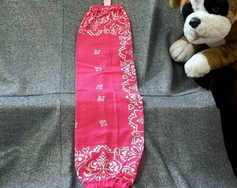 Plastic Bag Holder Sock, Pink Paisley Print