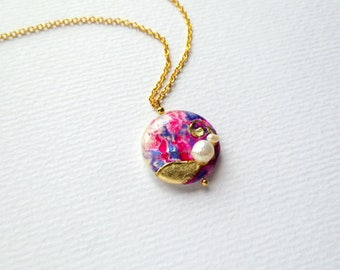 Purple Abstract Necklace Handpainted Lilac Necklace Pink Necklace Blue Necklace Handpainted Lilac Gold Necklace Lavender Purple Necklace