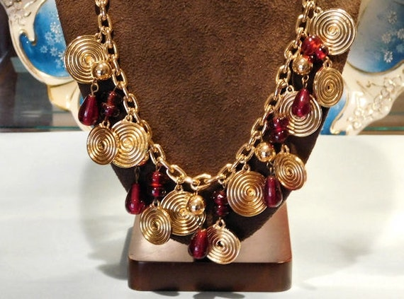 Red Glass Charm Necklace / Gold Medallion Chain