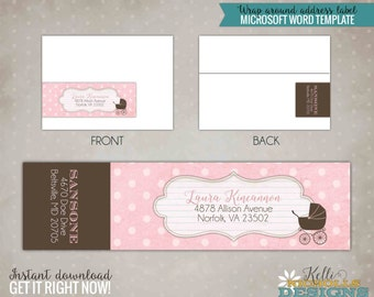 Vintage Pink Lace Baby Girl Shower Wrap Around Return Address Labels