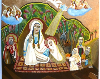 Nativity icon hand painted written, orthodox religious painting, Jesus birth, Theotokos