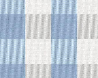 Blue and Silver Gray Buffalo Check Organic Fabric - By The Yard - Boy / Girl / Neutral