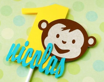 Boy Mod Monkey Inspired Cake Topper