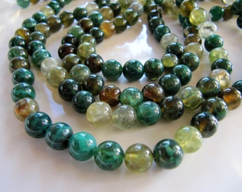 AGATE Beads in Green Shades, 7mm to 8mm, 1 Strand, Approx 47 Beads, Round Smooth Gemstones, Dyed