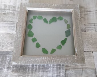 Seaglass art, seaglass heart picture, recycled art, sea glass art, Beach art, seaglass heart frame