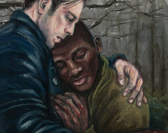Bucky and Gabe, Original soft pastel painting