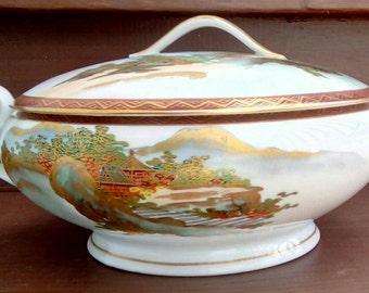 "GORGEOUS Vintage Koshida China, 9"" Round Covered Serving/Vegetable Dish with Handles, Gold Trim, China, Satsuma Ware"