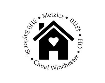 house custom return address rubber stamp new home home is where the heart is