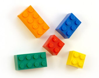 Fridge magnets made with LEGO(R) bricks. (Set of 5)