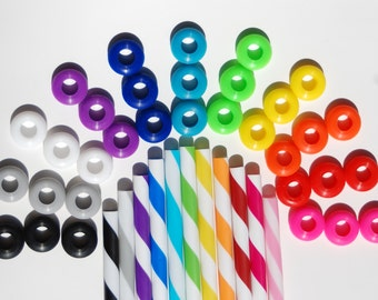 18 Colored Grommets With 18 Matching Colored Straws for DIY Mason Jar Cups, Tumblers, Silicone Grommets Food Safe, Rubber Grommets