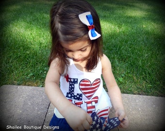 Patriotic Bow 4th of July Red, White and Blue Patriotic Bow Clip GSC408