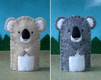 Koala Bear Finger Puppet Tan or Grey  - Felt Koala Puppet - Felt Finger Puppet Koala Bear - Australia Koala Bear Puppet
