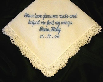 Embroidered Mother of the Bride Gift – Mother of the Bride Handkerchief – Wedding Handkerchief – Personalized Hankie 15S