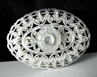 Hand Carved Mother of Pearl Brooch - Delicate Lacey Shell Carving in the Victorian Style - Possibly from the Middle East.