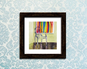 """Philippe Starck Ghost Chair, Morris Louis, """"my transparent and paint-stained heart"""" ART PRINT of original Oil Painting by Kimberly Applegate"""