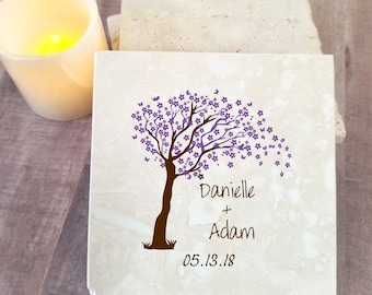 coasters Wedding favors set Personalized coaster anniversary gift Cherry blossom tree gift for her coasters for him