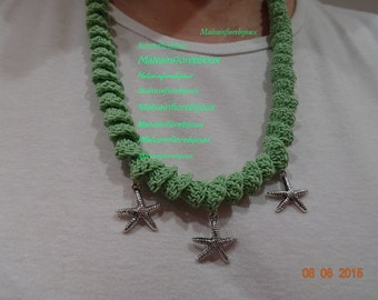 Necklace, necklace, Collier-Geen Pea and charms – necklace material particular pea green color for a Princess