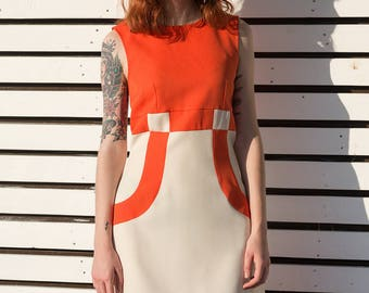 Mother's Day Mod space age orange dress a line scooter 1960's