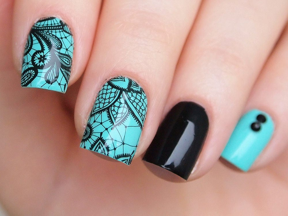 Black lace nail water decals/ 3 sheets set/ Lace nail stickers/ Lace ...