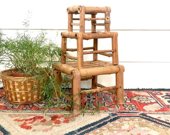 Vintage Bamboo Plant Stands • Set of 3 old Bamboo Nesting Tiny Tables • Bohemian Decor
