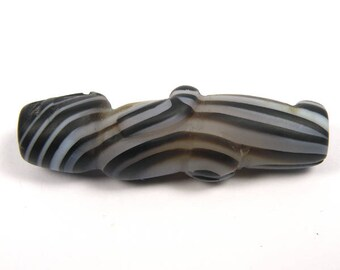 South East Asian Natural Black White Agate Carved Human Bead BTA09