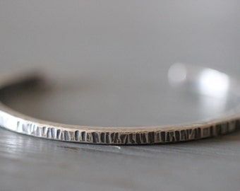 Sterling Silver Cuff Bracelet, Square, Men, Women, Hammered, Notched, Textured, Modern, Minimalist, Thick, Heavy Gauge, Mossy Creek