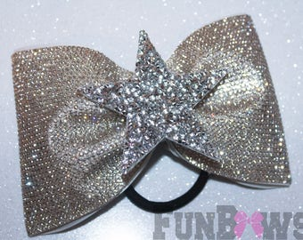 STUNNING Tailless Rhinestone Allstar Cheer bow with Rhinestone star - XL size, over 6,000 stones by FunBows !