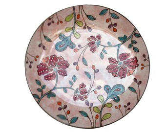 Beyond Tableware Dutch Wax Tech Ceramic  Hand Crafted Embossed Red Floral Plate