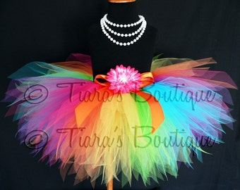 Girls Birthday Tutu - Rainbow Tutu - Custom Sewn 11'' Pixie Tutu - Aura - A Magical Rainbow Tutu - sizes newborn up to 5T