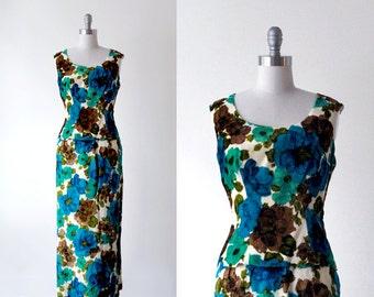 60's maxi dress. velvet. 1960 peplum dress. skirt & top set. blue green dress. 60 70 floral dress.