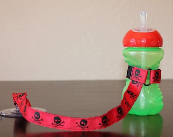 Sippy Cup Leash, Sippy Cup Strap, Suction Sippy Strap, New Baby Gift, Christmas Gift - Skulls