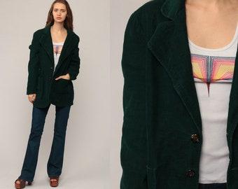Green Corduroy Blazer Jacket Men's 70s Blazer Jacket Preppy Professor 80s Hipster Vintage Collared Coat Boho Large