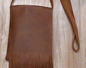 Handmade genuine rustic leather crossbody handbag. Free shipping!