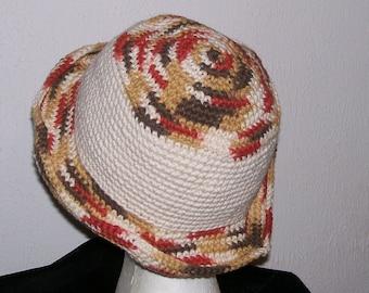 Crochet Hat w/ Brim......in Cream and Verigated Autumn Colors