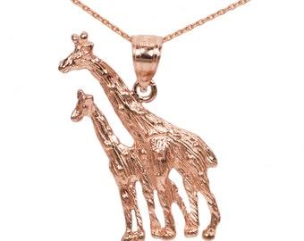 10k Rose Gold Giraffe Necklace
