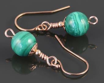 Malachite Earrings. Rose Gold Filled Ear Wires. Small Drop Earrings. Genuine Gemstone. s17e066