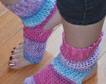 Hydrangea Crocheted Yoga/Pilates/Dance/Pedicure/Flip Flop Socks (AVERAGE SIZE) Made To Order