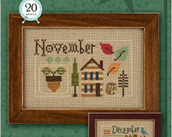 Lizzie Kate Yearbook Double Flip Series - November December F163 Counted Cross Stitch Pattern with Charms