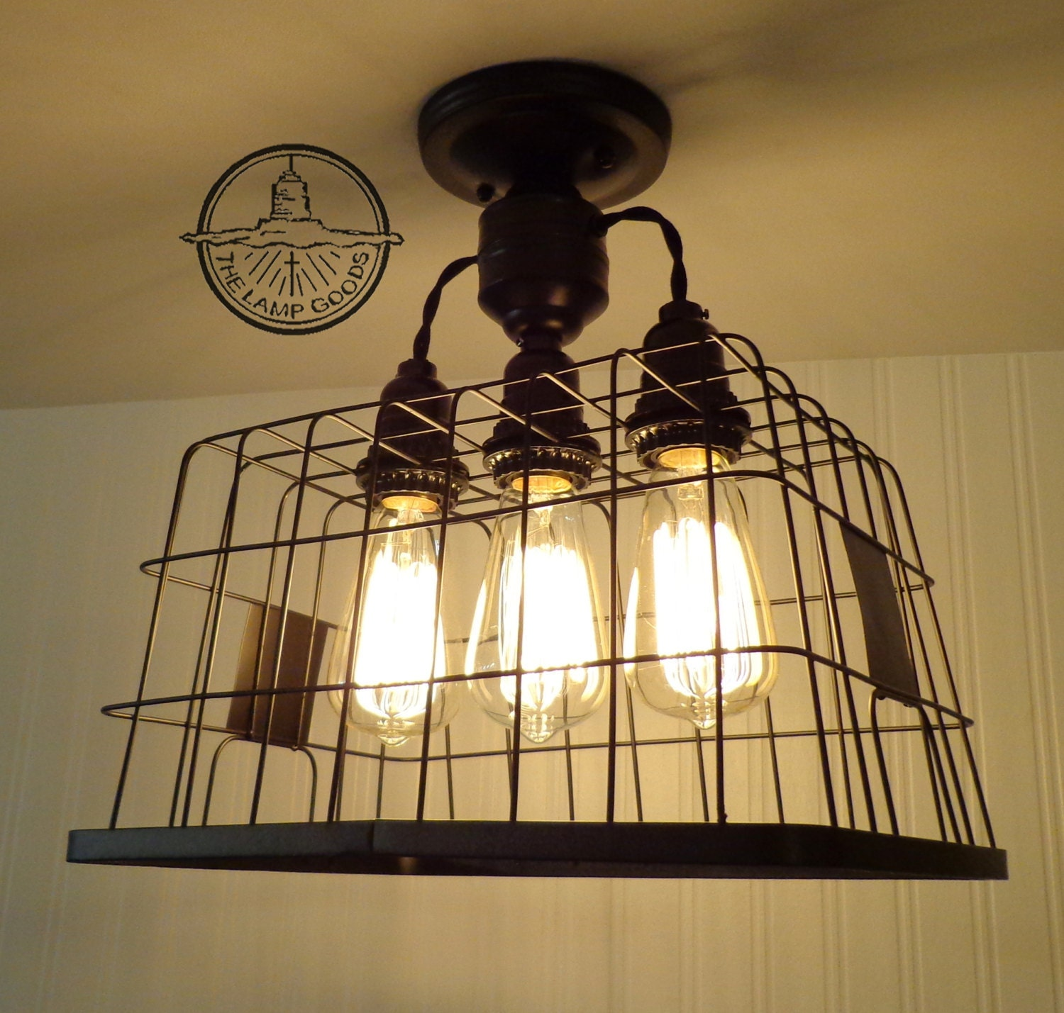 Flush Mount CEILING LIGHT Basket with Edison bulbs Lighting