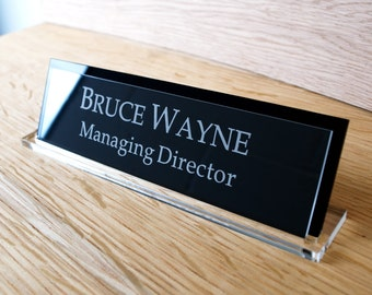 Executive Personalised Desk Name Plate, Custom Engraved Sign, Office Plaque
