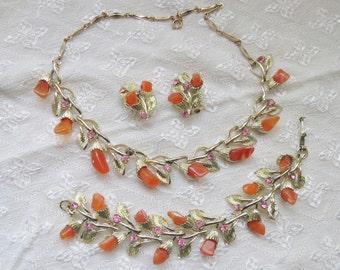 Cornaline Vintage Suite correspondant à collier, Bracelet, Clip sur boucles d'oreilles, pierres d'Agate Orange, bijoux en strass rose ensemble, ton or paramètres