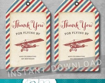 Vintage Airplane Favor Tags - Birthday Thank You Tags - Gift Tags - Boy - Red and Blue - Printable -Digital - DIY - INSTANT DOWNLOAD