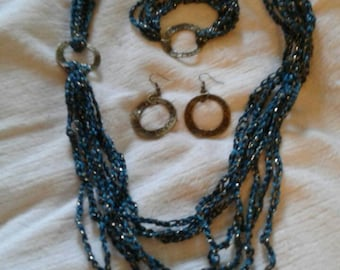 Crochet and Metal Necklace Earrings and bracelet set